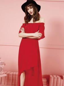 摩静女装红色一字肩连衣裙