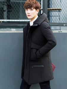 一个人的生活男装黑色中长款羽绒服