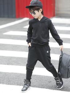叁时號童装黑色运动时尚套装