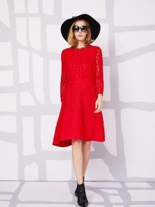 俪音之家女装红色直筒连衣裙