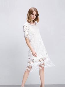 摩静女装白色蕾丝流苏连衣裙