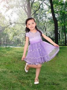 妮可贝贝童装浅紫时尚女裙