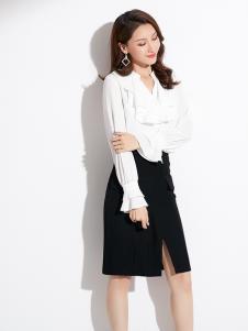 2019爱依莲女装白色时尚衬衫