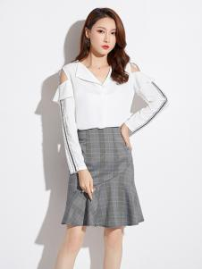 2019爱依莲女装白色漏肩衬衫