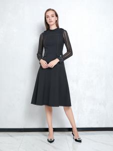JAOBOO乔帛新款黑色修身连衣裙