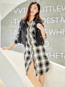 衣魅人品牌折扣格子衬衫裙