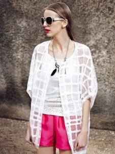 AQTWO女装白色格子防晒衣
