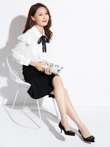 2019爱依莲女装白色淑女衬衫