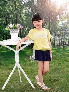 妮可贝贝童装黄色休闲T恤