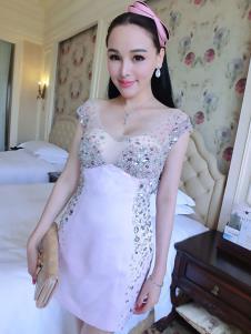 里迪美女装浅紫色亮片礼服