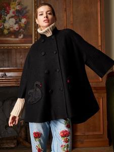 露维娅女装黑色双排扣宽松大衣