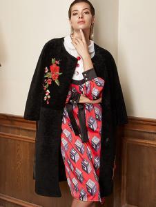露维娅女装黑色绣花大衣
