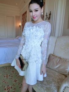里迪美女装白色网纱刺绣礼服