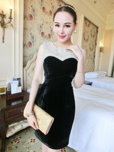 里迪美女装黑色拼接礼服