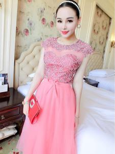 里迪美女装粉色蕾丝礼服