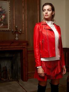 露维娅女装红色时尚外套