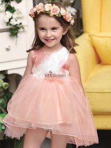 巴布点童装橘色时尚女裙