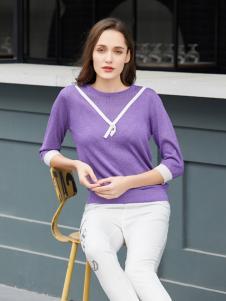 金蝶茜妮春夏新款紫色圆领T恤