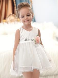 巴布点童装白色甜美女裙