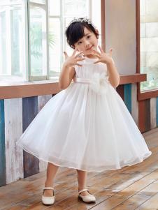 嗒嘀嗒童装新款纯色网纱连衣裙