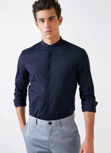 裁圣私服定制藏青修身衬衫