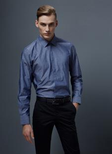 裁圣私服定制宝蓝色时尚衬衫