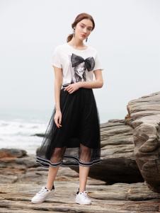 BLSS布伦圣丝春夏新款黑色网纱裙