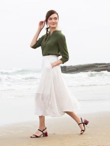 BLSS布伦圣丝新款白色半裙