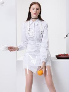 2019Ms.Leyna女装白色衬衫裙