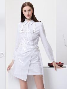 2019Ms.Leyna白色个性修身连衣裙