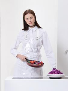 2019Ms.Leyna女装白色衬衫