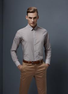 裁圣私服定制棕灰色休闲衬衫