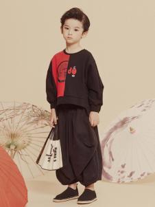 2019JOJO男童个性休闲黑色套装