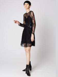 2019季候风春新款黑色蕾丝裙