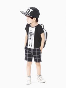 摩亚小作童装黑白拼接T恤