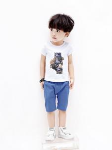 摩亚小作童装白色印花T恤