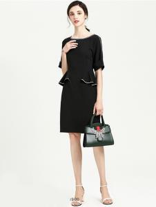 VIA BEANS女装黑色修身连衣裙
