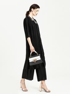 VIA BEANS女装黑色时尚长款T恤