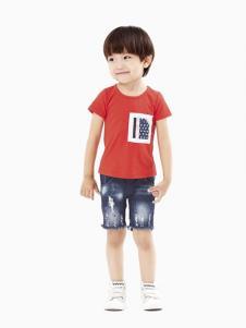 摩亚小作童装红色时尚T恤