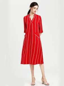 VIA BEANS女装红色条纹连衣裙