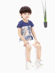 摩亚小作童装蓝色时尚T恤