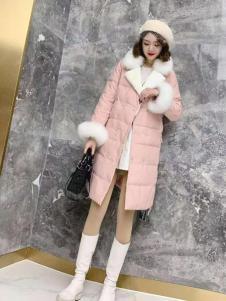 美兰娇丽甜美粉色羽绒服
