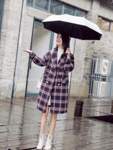 美兰娇丽格子韩版大衣