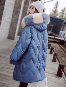 美兰娇丽蓝色韩版羽绒服