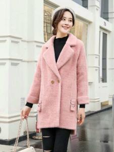 美兰娇丽粉色韩版大衣