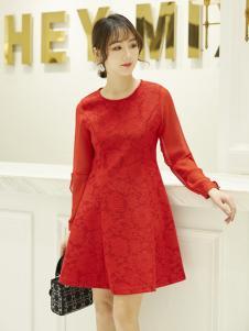红雨鸶女装2019新款红色连衣裙