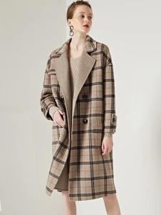 美兰娇丽格子气质大衣