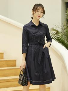 红雨鸶女装新款纯色系带连衣裙