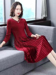 美兰娇丽酒红色连衣裙