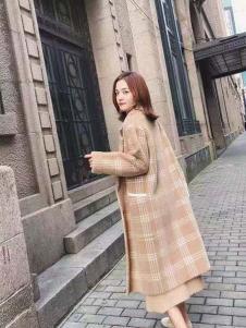 美兰娇丽气质格子韩版大衣